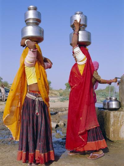Two Women by a Well Carrying Water Pots, Barmer, Rajasthan, India-Bruno Morandi-Photographic Print