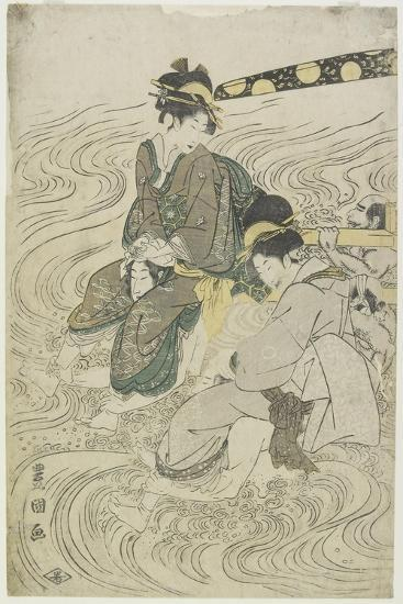 Two Women Crossing a River on the Shoulders of Coolies-Utagawa Toyokuni-Giclee Print