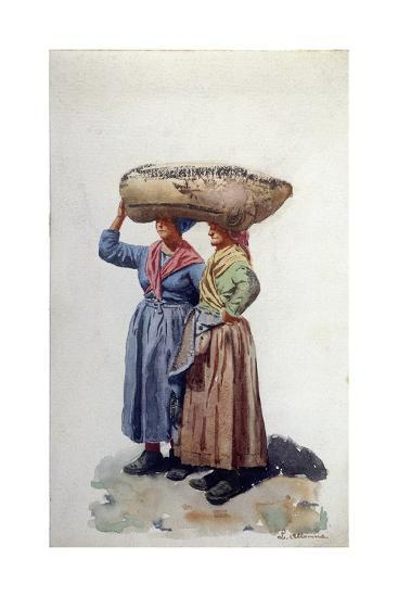 Two Women Dock Workers at Genoa Port, C.1890-L. Allavena-Giclee Print