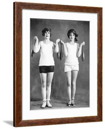 Two Women Exercising with Juggling Pins--Framed Photo