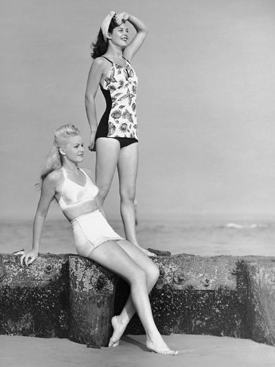Two Women in Bathing Suits-George Marks-Photographic Print