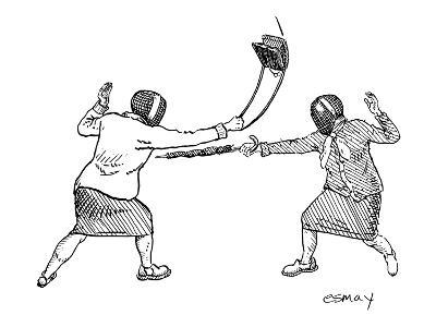 Two women in fencing masks dueling with an umbrella and a purse. - New Yorker Cartoon-Rob Esmay-Premium Giclee Print