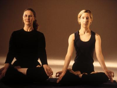 Two Women in Traditional Yoga Position-Jim McGuire-Photographic Print