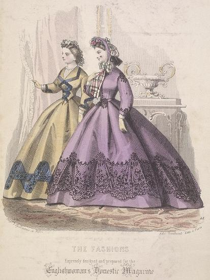 Two Women Model the Latest Fashions, 1864--Giclee Print