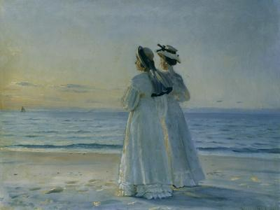 Two Women on the Beach at Skagen, 1908-Michael Peter Ancher-Giclee Print