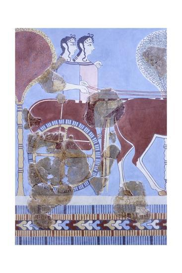 Two Women on Wagon, Fresco from Tirinto Palace--Giclee Print