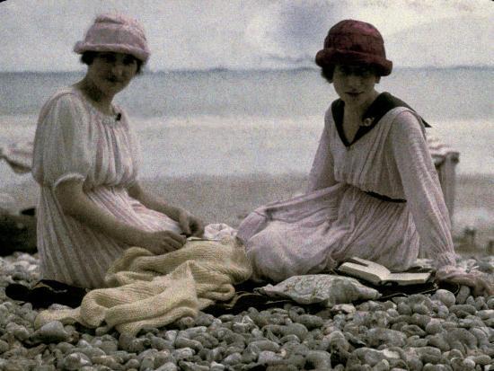 Two Women Sitting on the Beach-Henrie Chouanard-Photographic Print