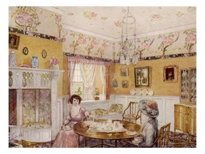 Two Women Take a Leisurely Afternoon Tea in a Prettily Decorated Room--Giclee Print