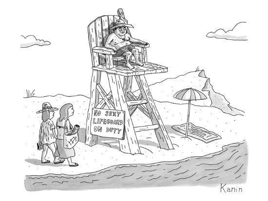 """Two women walk up to a lifeguard stand on the beach. A sign reads, """"NO SEX? - New Yorker Cartoon-Zachary Kanin-Premium Giclee Print"""