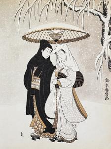 Two Women Walking under Snow