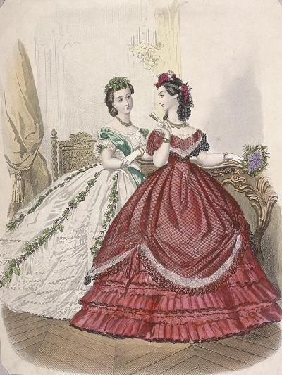 Two Women Wearing the Latest Indoor Fashions, C1850--Giclee Print