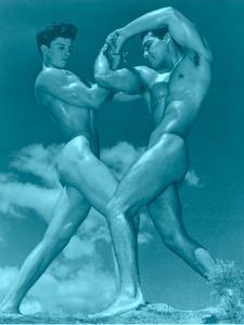 Two Wrestling Muscle Men in Blue Tint
