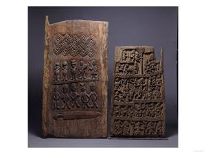 Two Yoruba Doors, One for a Shango Shrine, Both Carved in Relief with Varoius Figures