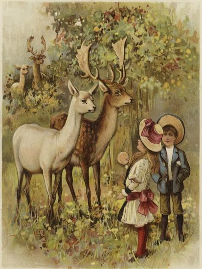 Two Young Children Feeding the Deer in a Park--Giclee Print