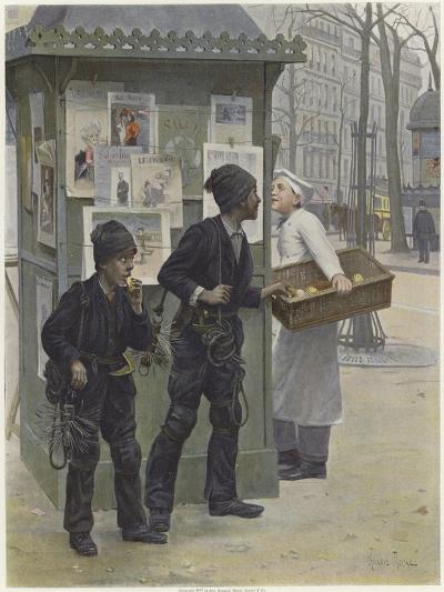 Two Young Chimney Sweeps Stealing Cakes from a Baker's Basket-Paul Charles Chocarne-moreau-Giclee Print