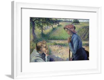 Two Young Peasant Women-Camille Pissarro-Framed Art Print