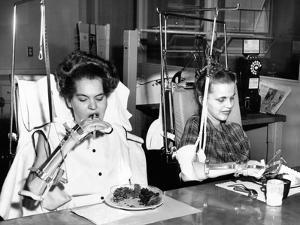 Two Young Women in Rehabilitation after Polio