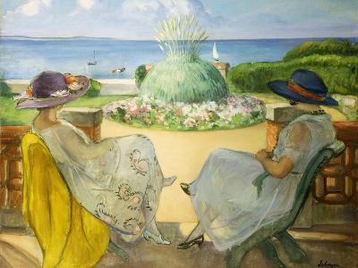 Two Young Women on a Terrace by the Sea, 1922-Henri Lebasque-Giclee Print