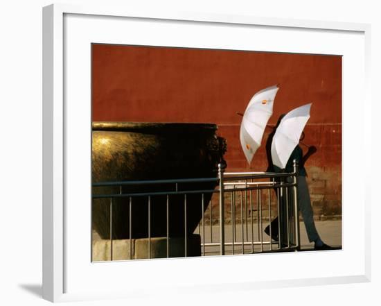 Two Young Women with Umbrellas Standing Beside Water Urn, Forbidden City, Beijing, China-Bruce Yuan-yue Bi-Framed Photographic Print