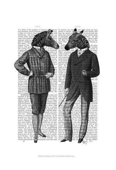 Two Zebra Gentlemen-Fab Funky-Art Print