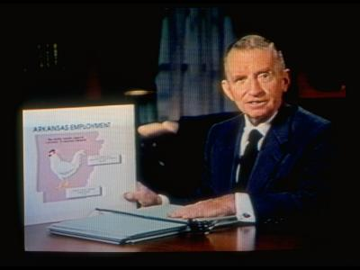 TX Magnate Ross Perot with AR State Employment Record Chart, Attacking Candidate Bill Clinton-Ted Thai-Premium Photographic Print