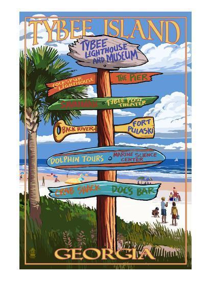 Tybee Island, Georgia - Destination Signs-Lantern Press-Art Print