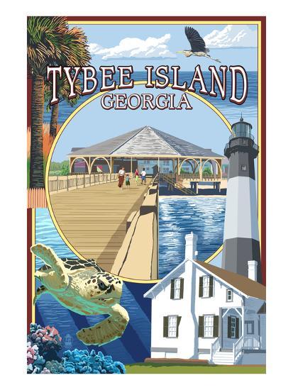 Tybee Island, Georgia - Montage-Lantern Press-Art Print