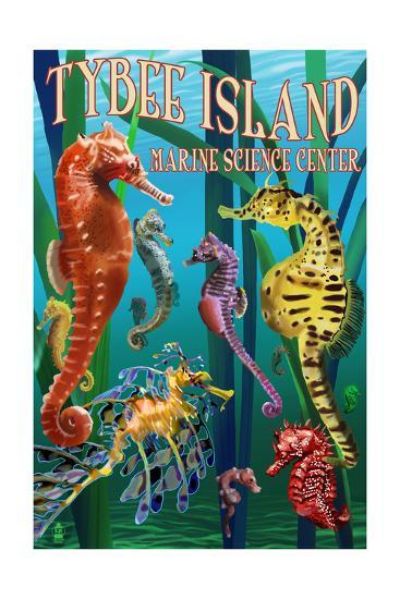 Tybee Island Marine Center - Tybee Island,Georgia - Sea Horses-Lantern Press-Art Print