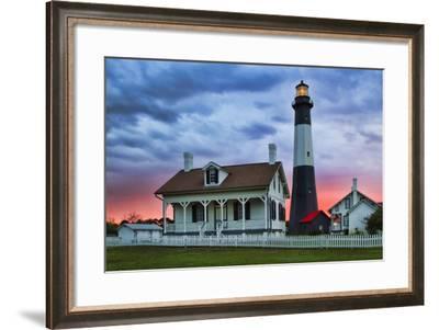 Tybee Light House at Sunset, Tybee Island, Georgia, USA-Joanne Wells-Framed Photographic Print