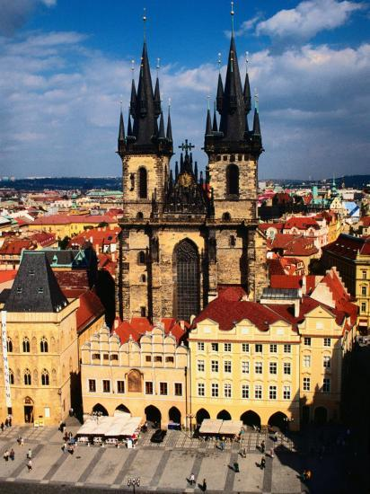 Tyn Church and Old Town Square Seen from Old Town Hall, Prague, Czech Republic-Jonathan Smith-Photographic Print
