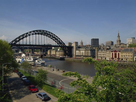 Tyne Bridge and Newcastle Skyline from Gateshead, Tyne and Wear, England, United Kingdom-Charles Bowman-Photographic Print