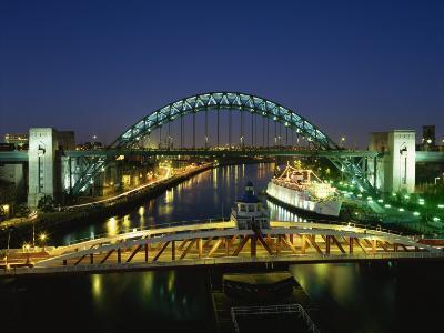 Tyne Bridge Illuminated at Night, Tyne and Wear, England, United Kingdom, Europe--Photographic Print