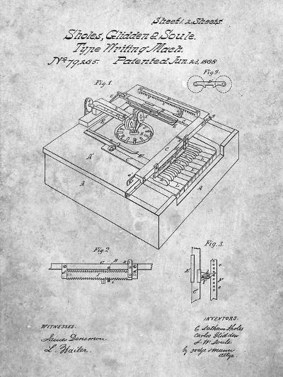 Type Writing Machine Patent-Cole Borders-Art Print