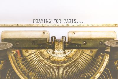 Typewriter and Empty White Paper with A Word Praying for Paris, Vintage Style-PongMoji-Photographic Print