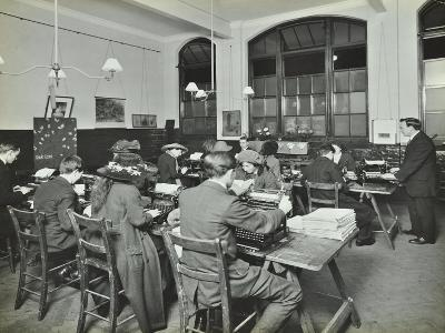 Typewriting Class, Hammersmith Commercial Institute, London, 1913--Photographic Print