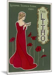 Typical Art Nouveau Lady with Red Poppies Reading a Book