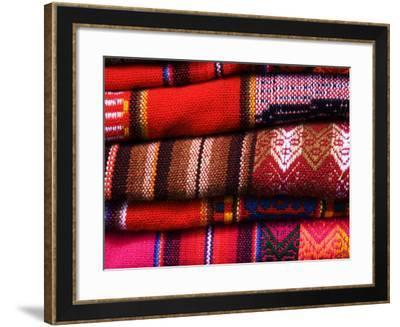 Typical Bolivian Weavings at Street Craft Stall, Calle Linares-Krzysztof Dydynski-Framed Photographic Print
