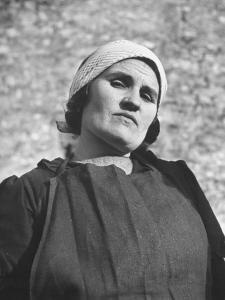 Typical Farm Woman Wearing Black Smock and Black Apron