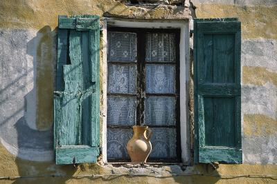 Typical French Window, with Turquoise Wooden Shutters and Terracotta Jug- LatitudeStock-Photographic Print