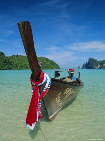 Typical Long Tail Boat, Ao Dalam Bay, Phi-Phi Don Island, Krabi Province, Thailand, Asia-Gavin Hellier-Photographic Print