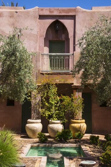 Typical Moroccan Architecture, Riad Adobe Walls, Fountain and Flower Pots, Morocco, Africa-Guy Thouvenin-Photographic Print