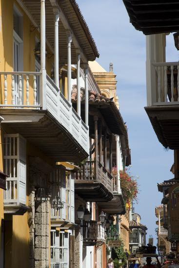 Typical Street with Balconies, Old Town, Cartagena (De Indias), Colombia-Natalie Tepper-Photo