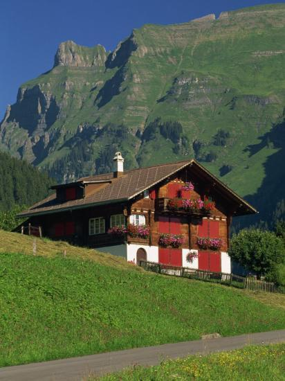 Typical Wooden Chalet with Colourful Shutters, Grindelwald, Bern, Switzerland, Europe-Tomlinson Ruth-Photographic Print