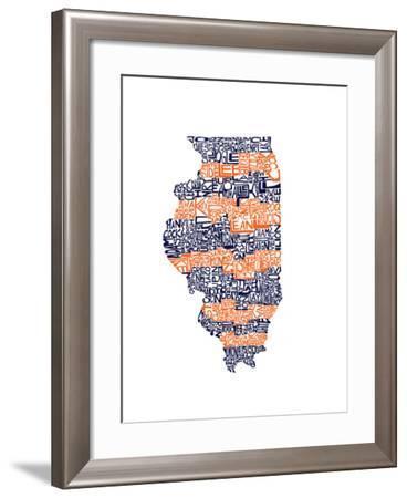 Typographic Illinois Illini-CAPow-Framed Art Print