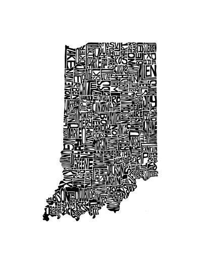 Typographic Indiana-CAPow-Art Print