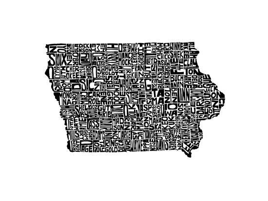Typographic Iowa-CAPow-Art Print