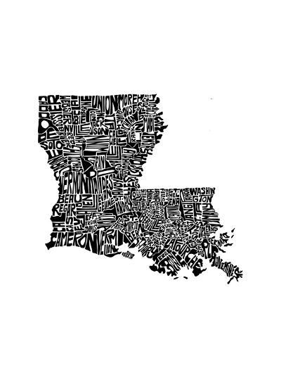 Typographic Louisiana-CAPow-Art Print