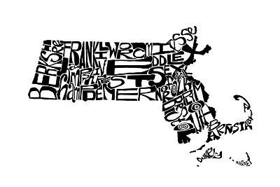 Typographic Massachusetts-CAPow-Art Print