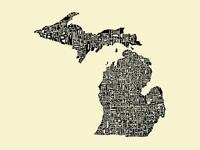 Typographic Michigan Beige Background-CAPow-Art Print