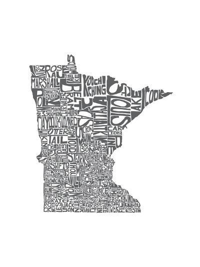 Typographic Minnesota Charcoal-CAPow-Art Print
